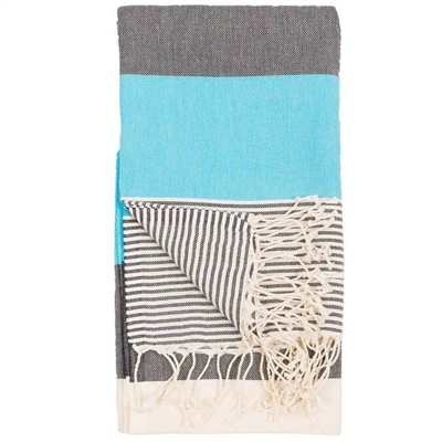 Turkish Towel Hawaii Black & Turquoise