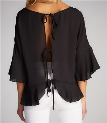 Ruffled Blouse with back ties black