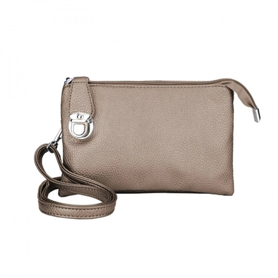 Convertible Clutch Crossbody Bag Bronze Metallic