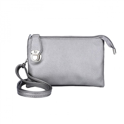 Convertible Crossbody Clutch Handbag Silver Metallic