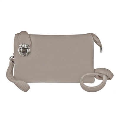 Convertible Clutch Crossbody Bag Light Grey