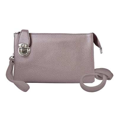 Convertible Clutch Crossbody Bag Rose Gold Metallic