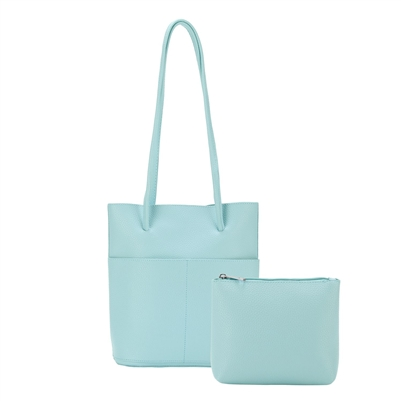 Tote Bag with Inside Pouch Aqua