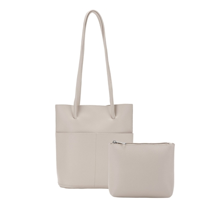 Tote Bag with Inside Pouch Beige