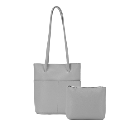 Tote Bag with Inside Pouch Light Grey