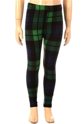 Brushed Soft Kids Leggings Plaid Green Navy - S/M