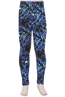 Brushed Soft Kids Leggings Music Notes Blue - L/XL