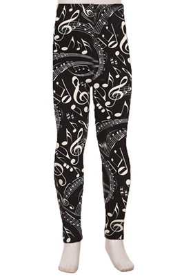 Brushed Soft Kids Leggings Music Notes Black and White - M