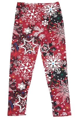Brushed Soft Kids Leggings Burgundy Snowflake LG