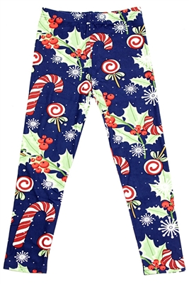 Brushed Soft Kids Leggings Holly Candy Cane M