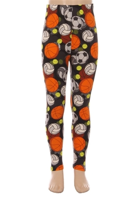 Brushed Soft Kids Leggings Sports Balls - L/XL