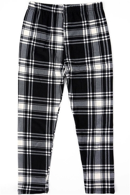 Brushed Soft Kids Leggings Plaid Black White LG