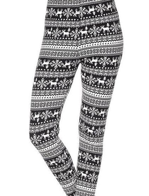 Brushed Soft Kids Leggings Black White Reindeer Snowflake LG