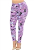Brushed Soft Black Lavender Kitty Cat Leggings L/XL