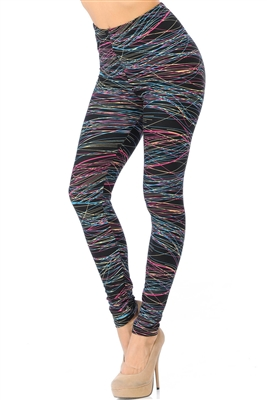 Brushed Soft Rainbow Lines Leggings S/M
