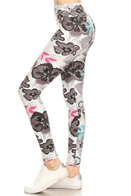 Morning Fresh Floral Soft Leggings Soft Blue S/M
