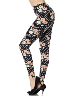 Brushed Soft Blush Floral Leggings S/M