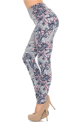 Brushed Soft  Floral Peach Blossom Leggings S/M