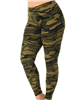 Brushed Soft Camouflage Green Leggings L/XL