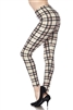 Brushed Soft Ivory Red Black Plaid Leggings L/XL