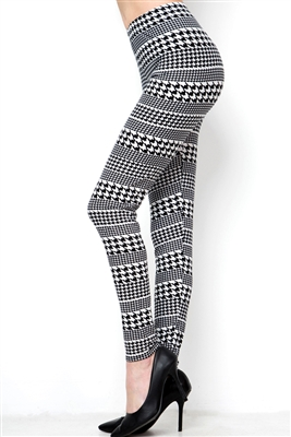 Brushed Soft Black and White Houndstooth Leggings L/XL