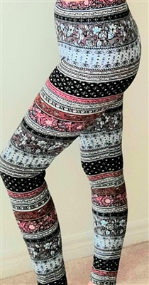 Border Floral Soft Leggings S/M