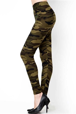 Brushed Soft Camouflage Green Leggings S/M