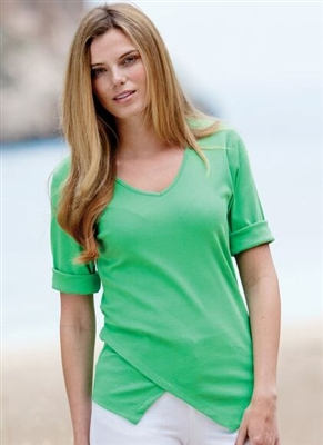 Cotton T-shirt V Neck with Point Bottom Detail Green