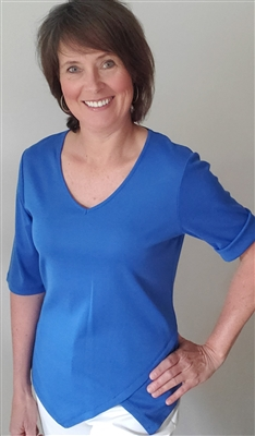 Cotton T-shirt V Neck with Point Bottom Detail Blue