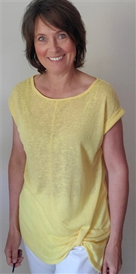 Mesh Top with Rouched Bottom Detail Yellow