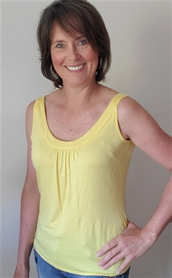 Scoop Neck Gathered Tank Yellow