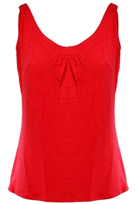 Scoop Neck Gathered Tank Coral