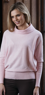 Cotton Pink Cowl Neck Sweater M LG XL