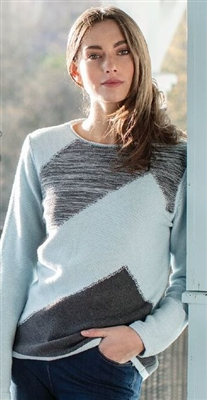Cotton Ice Blue Charcoal Sweater SM M LG