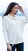 Cotton Ivory Cowl Neck Fringe Sweater M LG