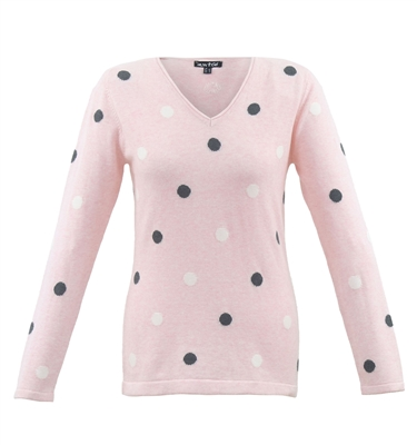 Pink Polka Dot Cotton Sweater