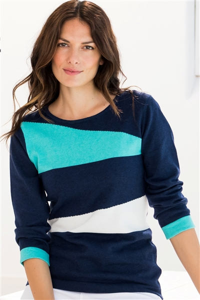 Cotton Abstract Sweater Navy with Aqua and White
