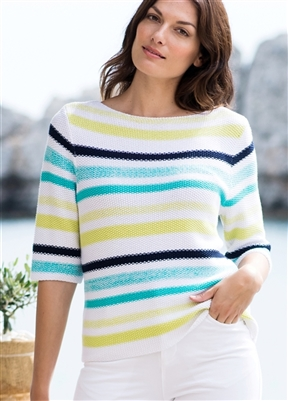 Striped Sweater White with Lime, Aqua and Navy