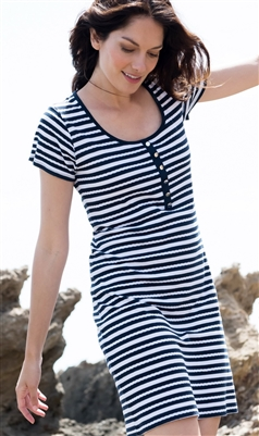 Cotton Striped Dress Navy and White