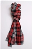 Cotton Plaid Scarf Grey Tweed Black Red
