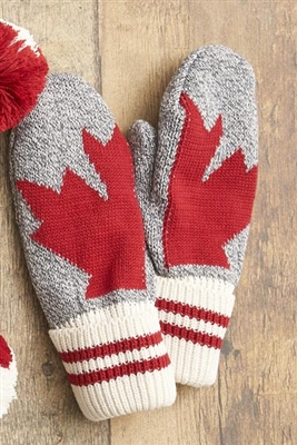 Cotton Canada Maple Leaf Grey Tweed Mittens Red