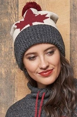 Cotton Canada Maple Leaf Slouchy Hat Natural Charcoal Tweed Burgundy Unisex