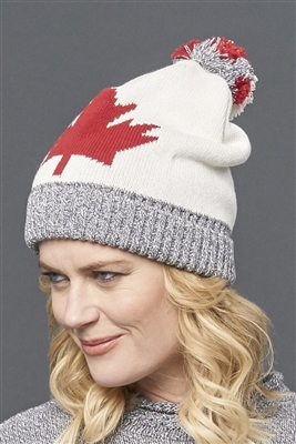 Cotton Canada Maple Leaf Slouchy Hat Ivory Grey Tweed Red Unisex