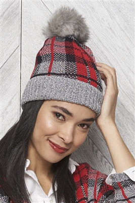 Cotton Plaid Hat Grey Tweed Black Red