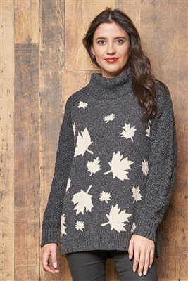 Cotton Northern Leaves Canada Pullover Sweater Black Tweed with Stone Ivory Tweed