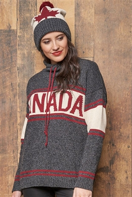 Cotton Canada Pullover Sweater Tweed Black with Burgundy