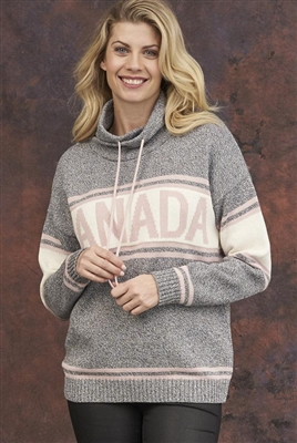 Cotton Canada Pullover Sweater Tweed Grey with Pink