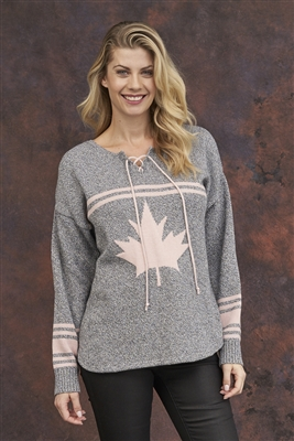 Cotton Canada Hockey Sweater Grey Pink