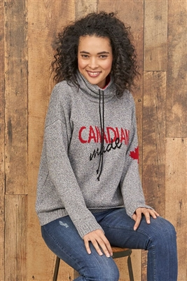 Cotton Canadian Made Pullover Sweater Tweed Grey with Red and Black