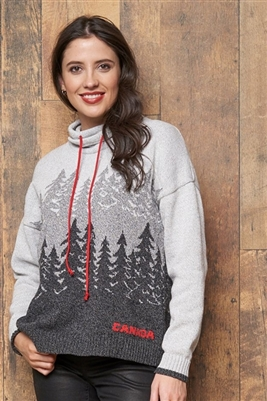 Cotton Canadiana Forest Pullover Sweater Tweed Grey with Red